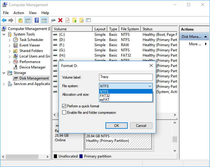 format usb drive to fix unreadable issue in disk management